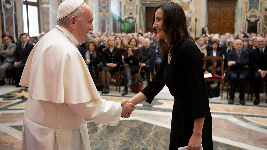 Pope Francis attends a meeting with the members of Italian FPA