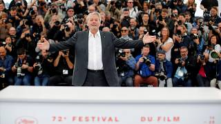 Alain Delon at a photocall in Cannes, France on May 19, 2019.