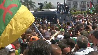 شاهد: متظاهران جزائريان يدفعان بشرطي رشهم بالغاز من أعلى عربة أمنية