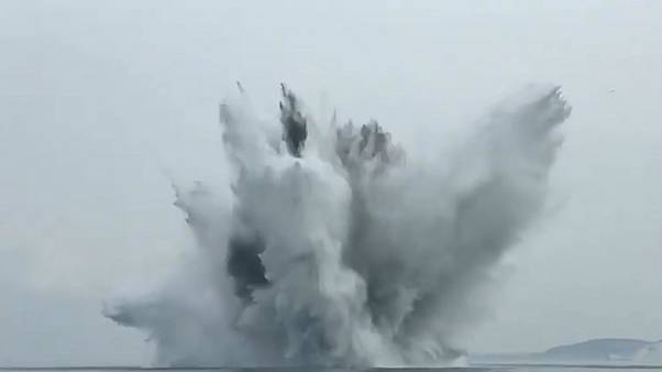 Watch: UK bomb disposal experts detonate WWII mine at sea