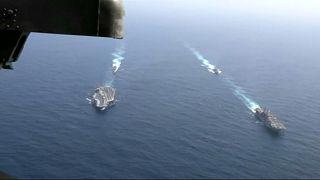 سفن حربية أميركية في بحر العرب