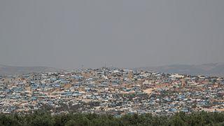 منظر عام لمخيم عتمة للنازحين في بلدة عتمة، محافظة إدلب