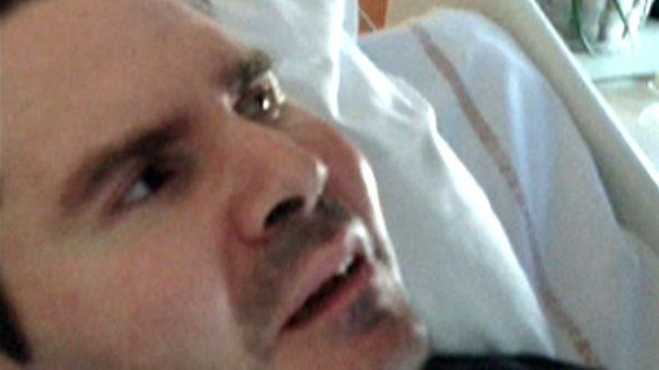 Imagem de Vincent Lambert na cama do hospital onde está há uma década