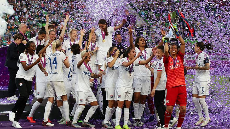 Olympique Lyonnais after winning the 2019 Women's Champions League.