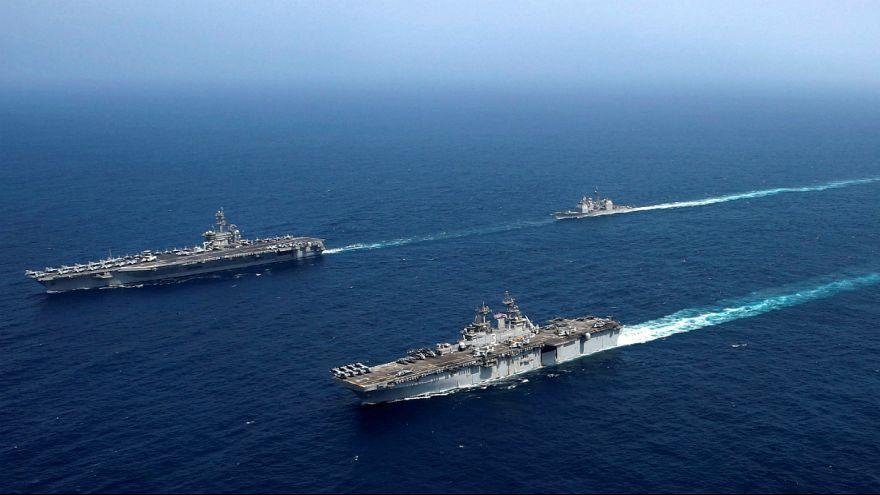 ویدیویی از تمرین ناوهای جنگی آمریکا در دریای عرب