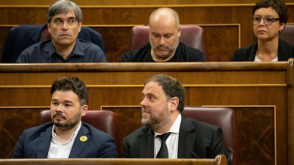Independentista catalão Oriol Junqueras ao lado de Gabriel Rufian, do ERC