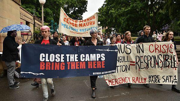 تظاهرات مخالفان دولت استرالیا علیه سیاستهای مهاجرتی اسکات موریسون در سیدنی