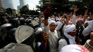 Protest near the Election Supervisory Agency in Jakarta