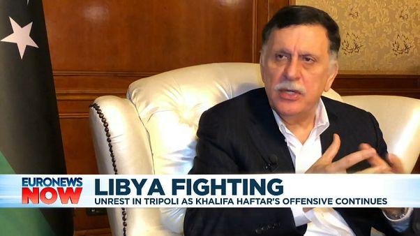Screenshot - Libyan Prime Minister Fayez al-Serraj speaks to Euronews