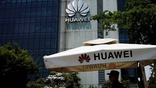 A Huawei company logo is seen at Huawei's Shanghai Research Centre