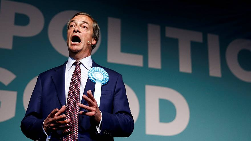 Brexit Party leader Nigel Farage at a campaign event