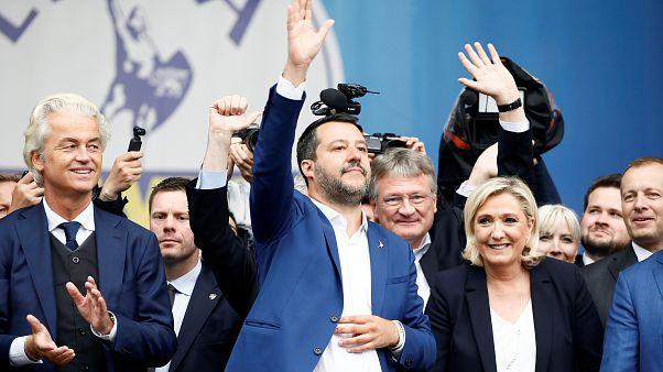 مارین لوپن، ماتئو سالوینی و خیرت ویلدرس سیاستمداران مخالف اروپا در میلان