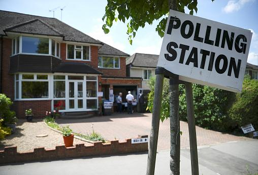 Polling station near Westminster, London