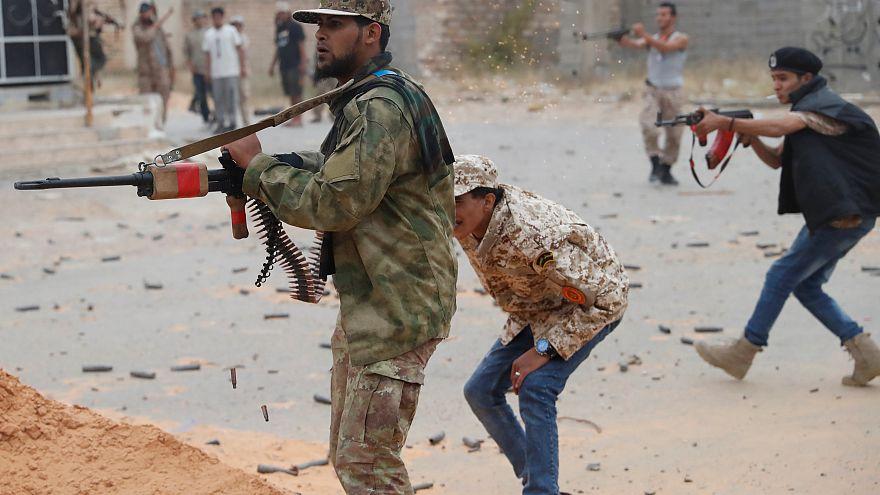 Fighters loyal to Libya's U.N.-backed GNA near Tripoli on May 21, 2019
