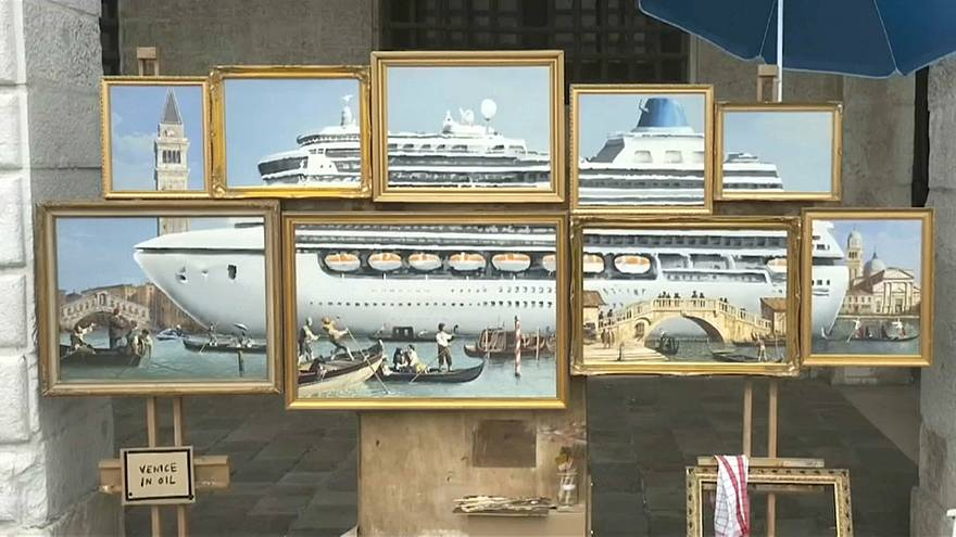 Oil paintings create an image of a giant cruise ship in the city's canal