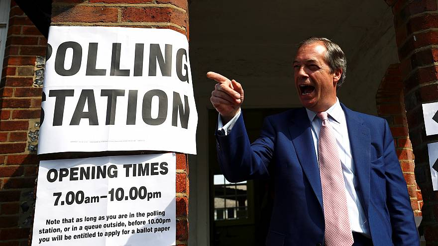 Brexit Party leader Nigel Farage after casting his vote on May 23, 2019.