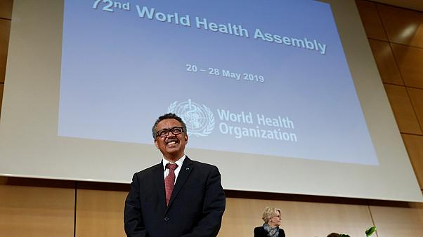 Director general of the WHO Tedros attends the 72nd WHA in Geneva.
