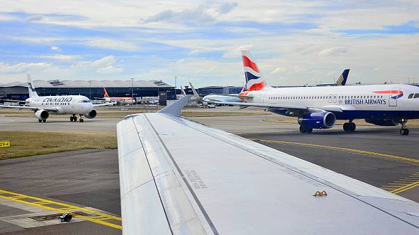 Planes on the runway at London's Heathrow Arport.