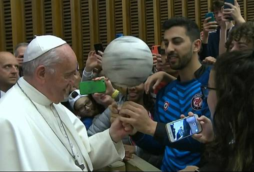 Vatican hall becomes impromptu stadium as Pope talks soccer to children