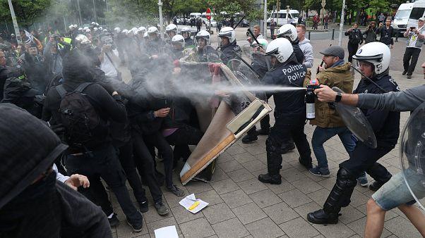 """السترات الصفراء يتظاهرون في بروكسل ضد """"الديكتاتورية الأوروبية"""""""