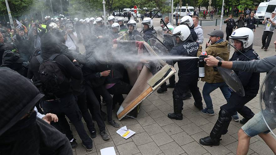 Gilets Jaunes protesters clashed with police in Brussels