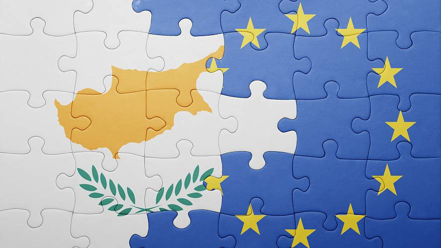 puzzle with the national flag of cyprus and european union . concept