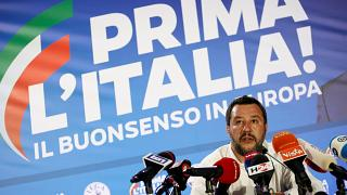 Milano, 26.5.2019. La conferenza stampa di Matteo Salvini post-elezioni.