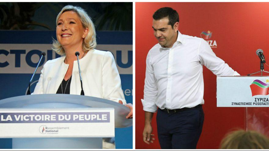 الکسیس سیپراس، نخست وزیر یونان و مارین لوپن رهبر حزب اجتماع ملی در فرانسه