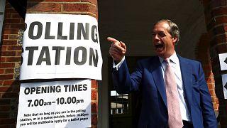 Farage leaves polling station