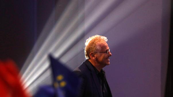 """دانييل كون-بندي خلال تجمع انتخابي في باريس مؤيد للائحة """"تجديد"""" الفرنسية"""