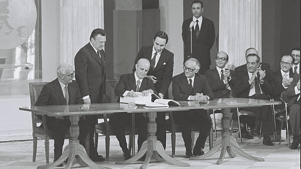 Signature ceremony of the Treaty by Constantin Caramanlis, Greek PM
