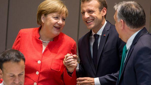 Merkel, Macron és Orbán Viktor 2018 júnuis 18-án Brüsszelben
