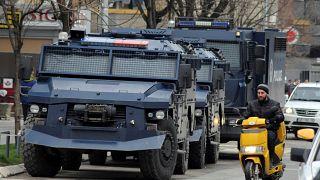 File photo of Kosovan police armoured vehicles