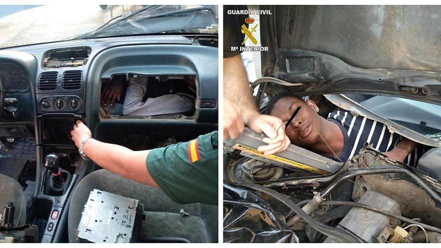 La policía española halla personas escondidas en la estructura de coches en un paso fronterizo