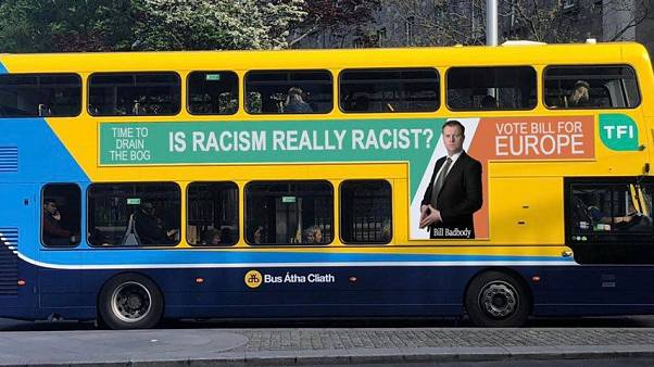 Dublin Bus sports joke MEP candidate's slogan 'Is Racism Really Racist?'