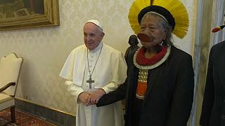Pope Francis meets indigenous Amazon chief Raoni