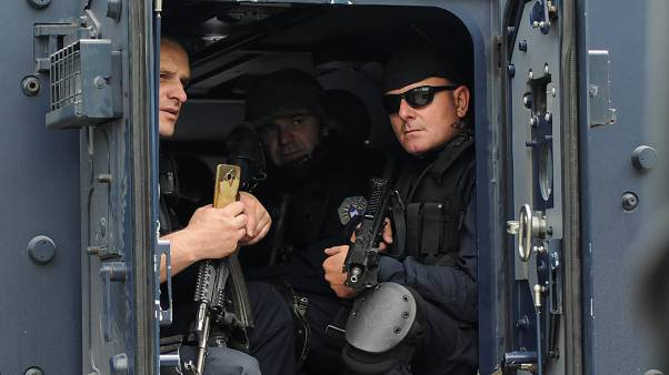 Kosovo police secure the area near the town of Zubin Potok, Kosovo.