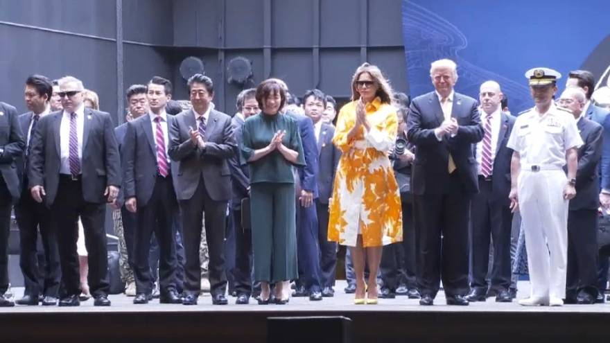Donald Trump inspects Japan's largest warship on state visit