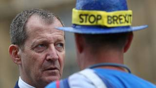 Alastair Campbell speaking to anti-Brexit campaigners outside Westminster