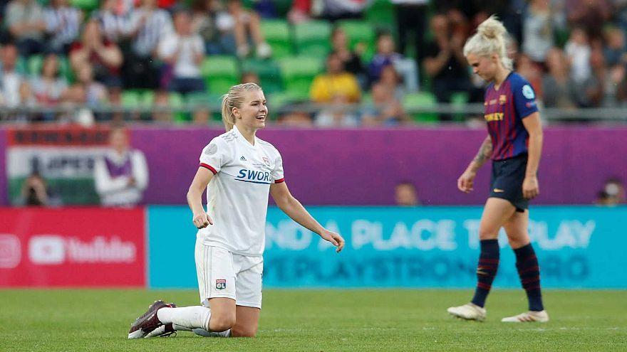 Ada Hegerberg après la victoire de l'OL en finale de la Ligue des champions