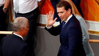 Ousted Austrian Chancellor Sebastian Kurz leaves a session of Parliament