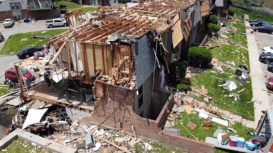 ویدئو؛ تصاویر هوایی از خسارتهای گردباد در اوهایو آمریکا