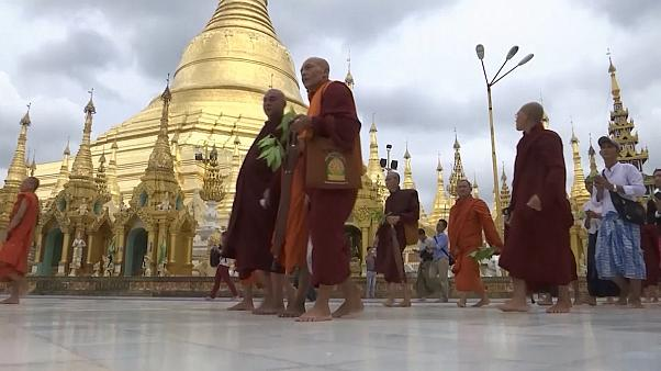 Monks march in Myanmar in support of firebrand preacher