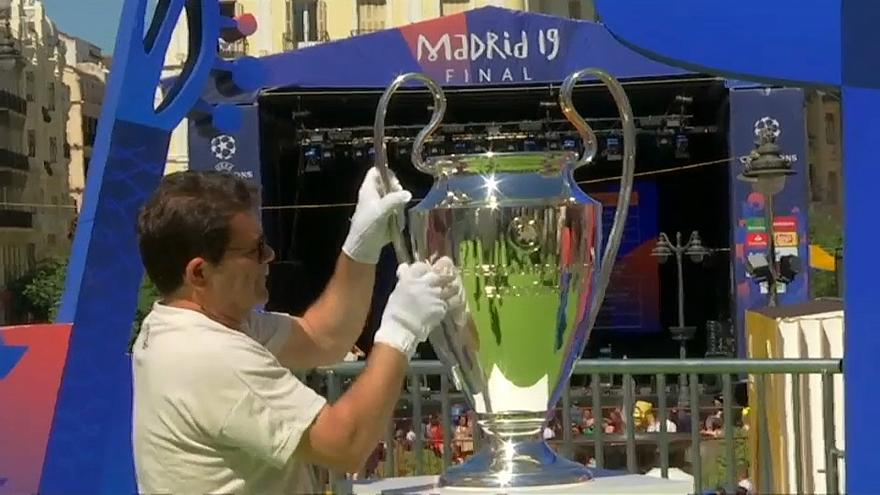 Champions League trophy displayed in Madrid as 80,000 fans head to final