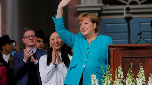 German Chancellor Merkel delivers the Commencement Address at Harvard