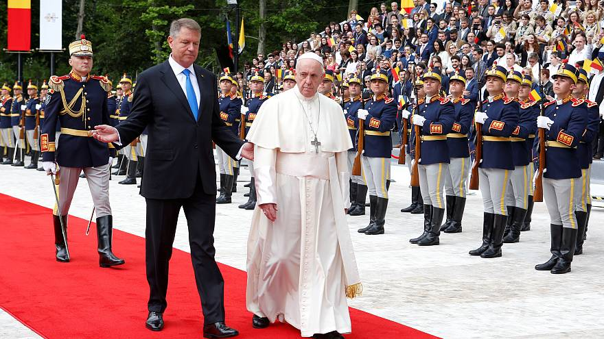 Pope Francis arrives in Bucharest for three-day visit to Orthodox Romania