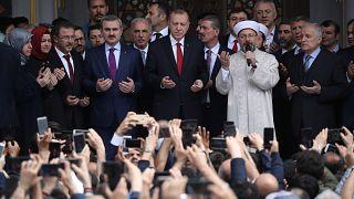 Cumhurbaşkanı Erdoğan ile Diyanet İşleri Başkanı Erbaş cami açılışında