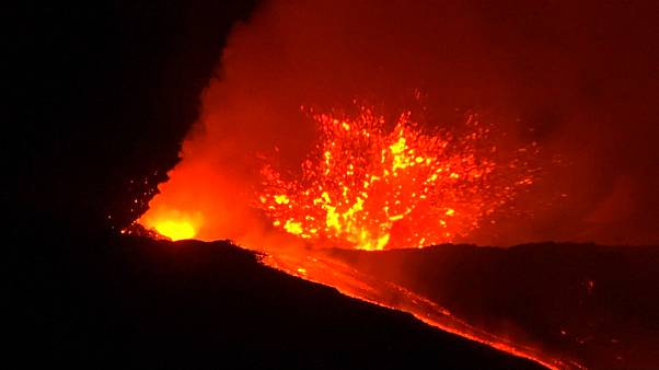 Spectacular eruptions from Mount Etna light up night sky
