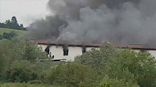 حريق في مخيم للمهاجرين