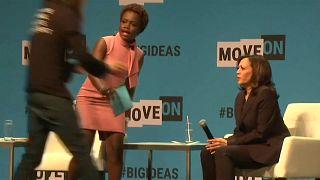 Watch: Man storms stage to interrupt US 2020 hopeful Kamala Harris